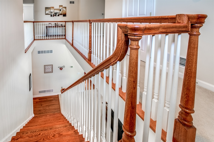 Real Estate Photography - 12 Oak Ave, # A, Newark, DE, 19711 - Gleaming Hardwood Stairs