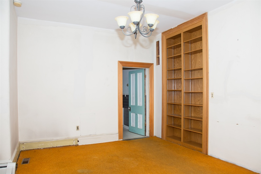 Real Estate Photography - 215 N Cass St, Middletown, DE, 19709 - Din. Rm.(cont.) with built-in bookcase