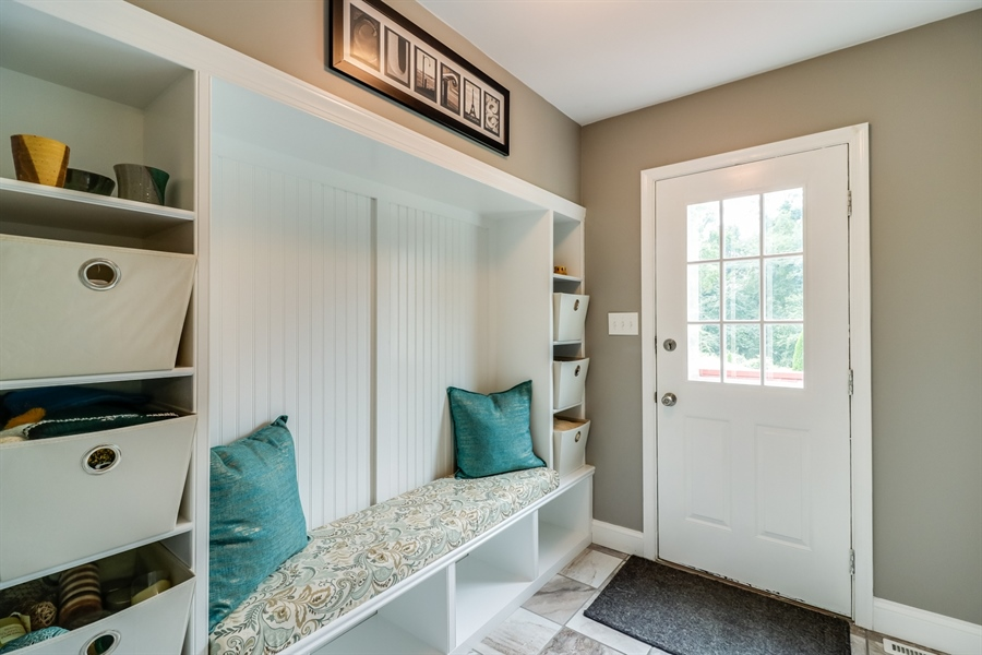 Real Estate Photography - 142 Bromley Dr, Wilmington, DE, 19808 - Mud Room with built in storage