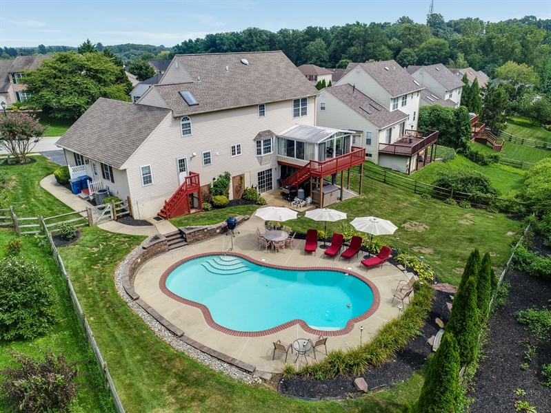 Real Estate Photography - 142 Bromley Dr, Wilmington, DE, 19808 - Aerial View of Private Back Yard
