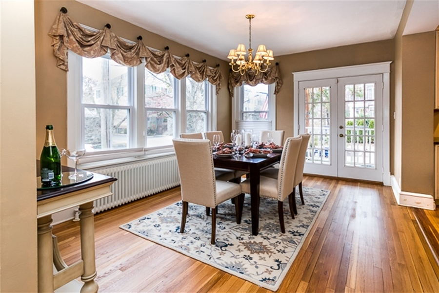 Real Estate Photography - 2101 N Grant Ave, Wilmington, DE, 19806 - Formal dining room with french doors to deck