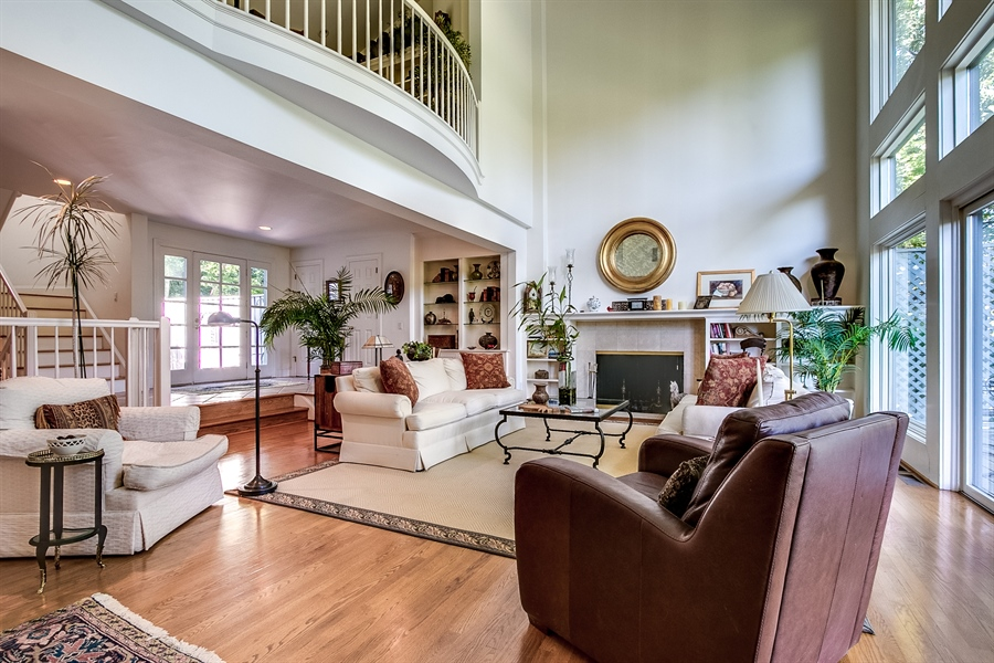 Real Estate Photography - 7 Brandywine Falls Rd, Wilmington, DE, 19806 - Living Room with Loft above