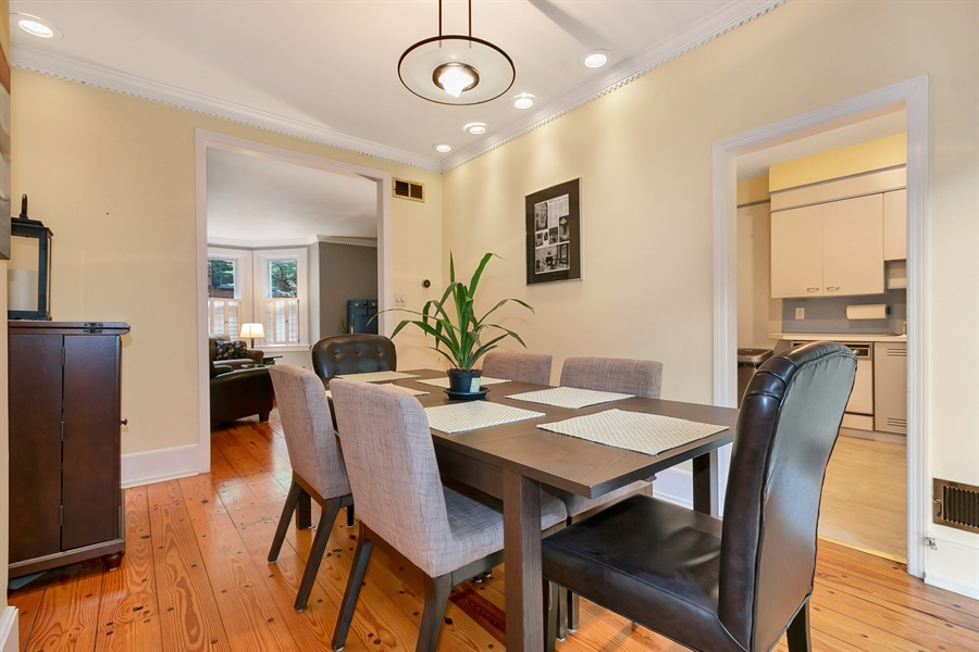 Real Estate Photography - 1003 Trenton Pl, Wilmington, DE, 19801 - Formal Dining Room Leads to Patio
