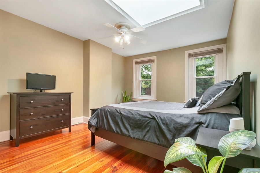 Real Estate Photography - 1003 Trenton Pl, Wilmington, DE, 19801 - Front Owners Bedroom w/ Solar Skylight