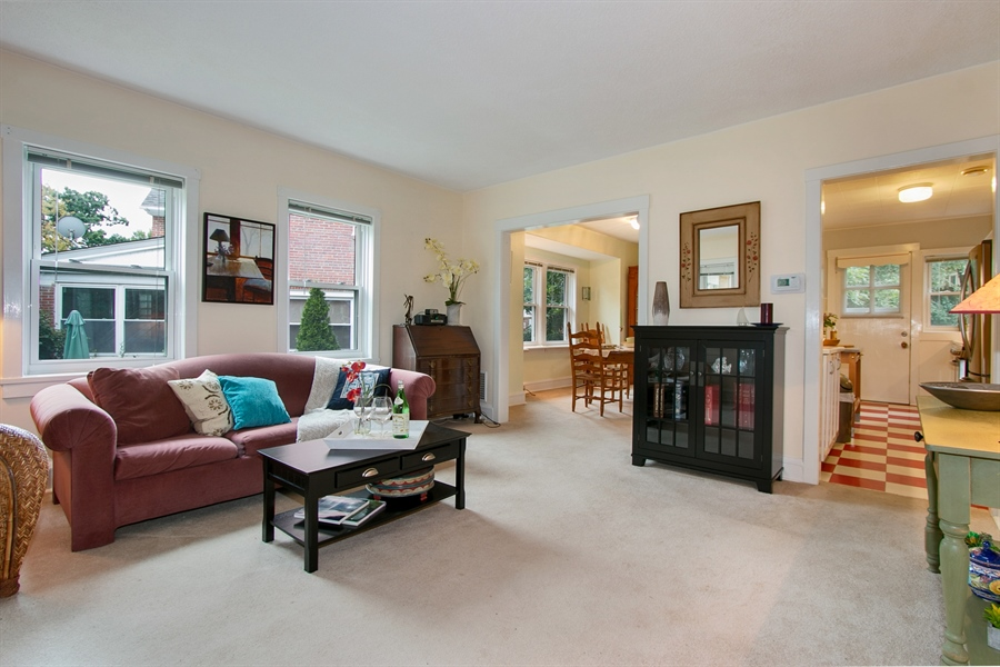 Real Estate Photography - 433 S Bancroft Pkwy, Wilmington, DE, 19805 - Living Room Leads to Dining and Kitchen