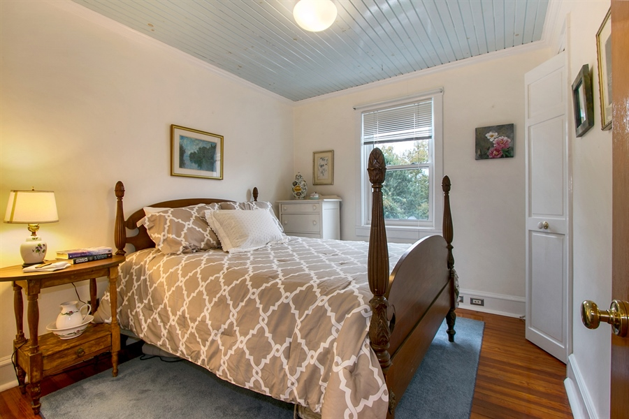 Real Estate Photography - 433 S Bancroft Pkwy, Wilmington, DE, 19805 - Pretty Guest Bedroom w/ Wood Ceiling