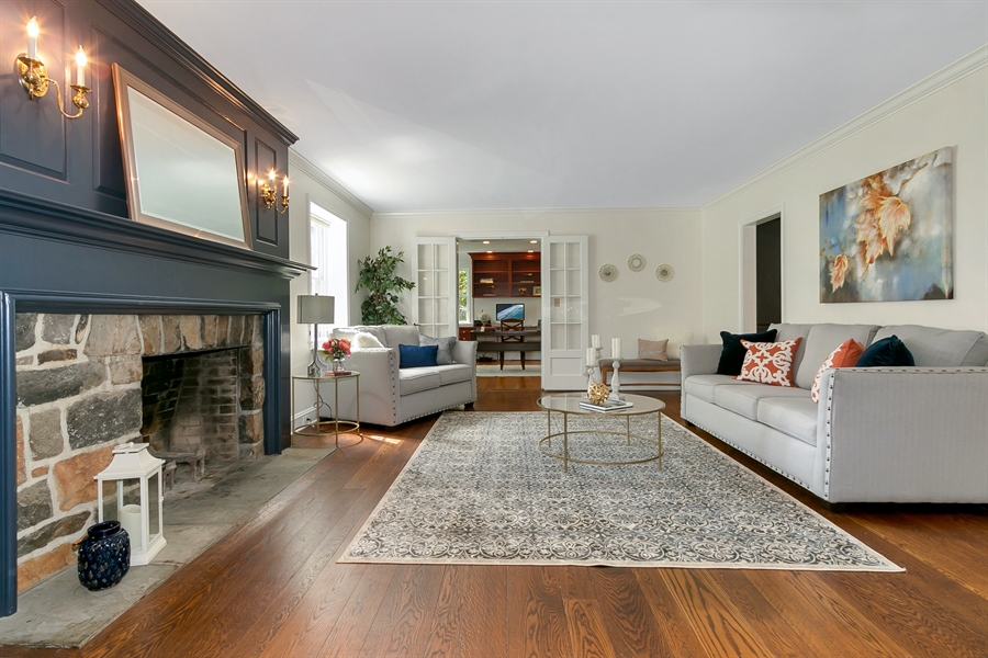 Real Estate Photography - 915 Westover Rd, Wilmington, DE, 19807 - Living Room with Stone Fireplace