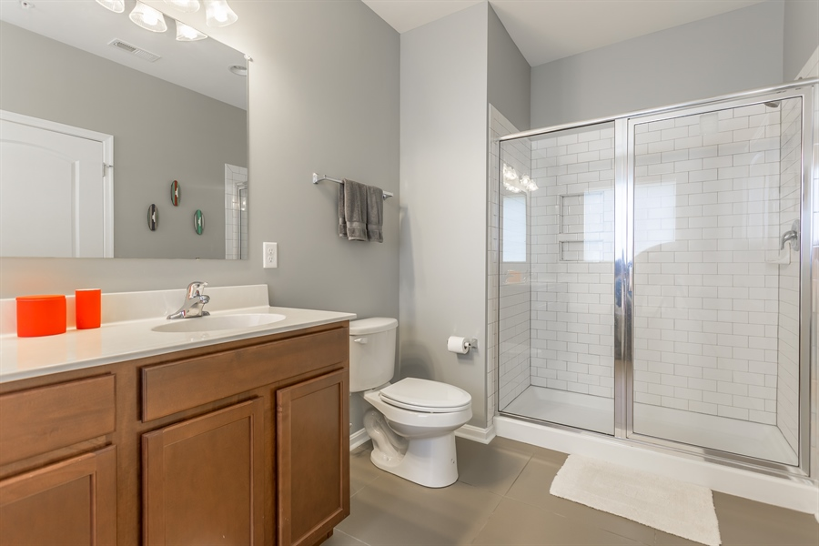Real Estate Photography - 37684 Ulster Drive #1, 1, Rehoboth Beach, DE, 19971 - Upgraded Bath w/Tiled Shower & Floor
