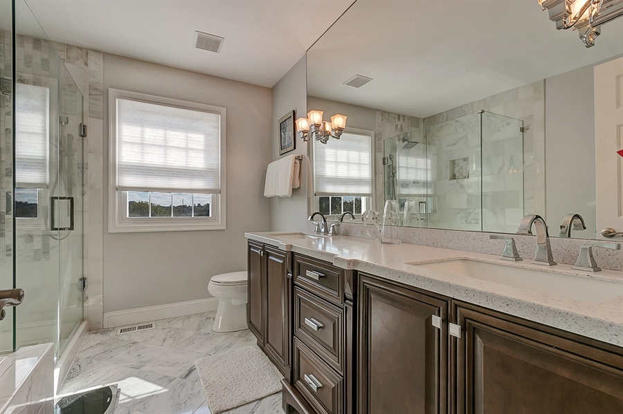 Real Estate Photography - 4 Eastridge Ct, Hockessin, DE, 19707 - Gorgeous Master Bath with Two-Sink Vanity