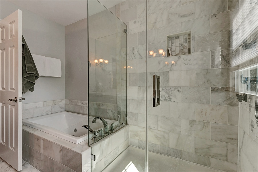 Real Estate Photography - 4 Eastridge Ct, Hockessin, DE, 19707 - Fabulous Glass Shower & Jetted Tub