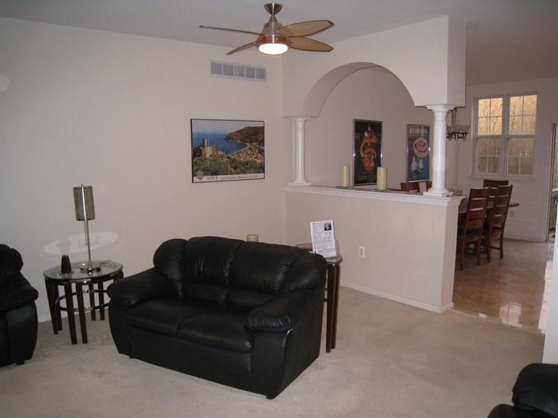 Real Estate Photography - 47 Wicklow Rd, Bear, DE, 19701 - Living room looking toward breakfast area