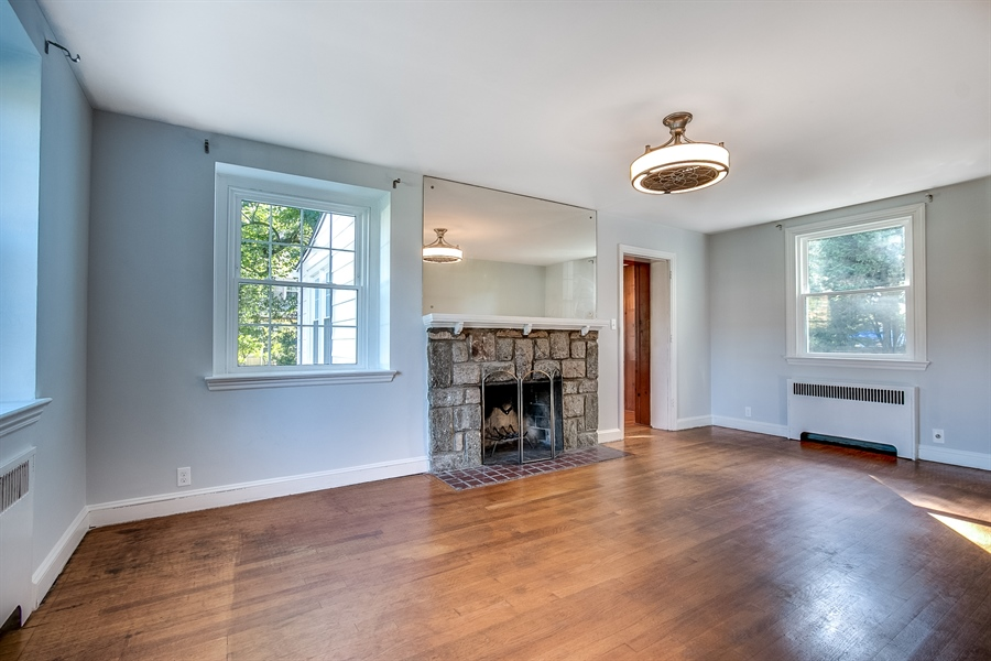 Real Estate Photography - 502 Brentwood Dr, Wilmington, DE, 19803 - Living Room with Fireplace