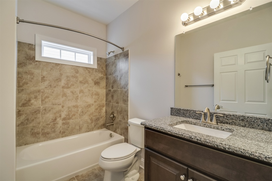 Real Estate Photography - 459 India Dr, Smyrna, DE, 19977 - 2nd Bathroom with Tile & Granite