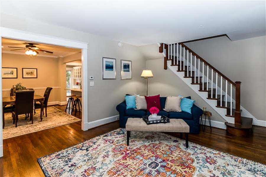 Real Estate Photography - 2417 W 18th St, Wilmington, DE, 19806 - Classic oak stair case with painted spindles