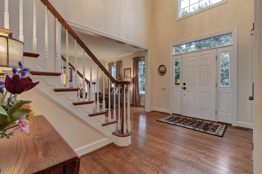 Real Estate Photography - 219 S Pond Rd, Hockessin, DE, 19707 - Foyer w/Hardwood Floors & Palladium Window