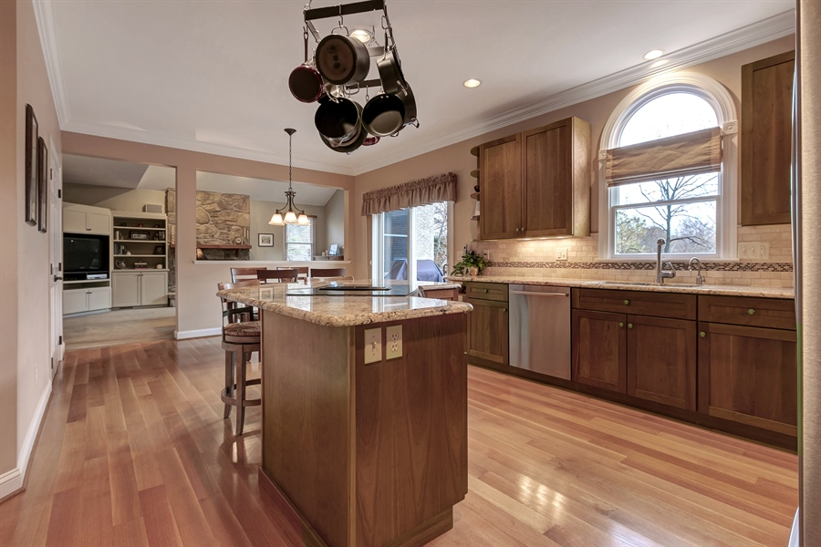 Real Estate Photography - 219 S Pond Rd, Hockessin, DE, 19707 - Another Kitchen View Looking Into The Family Room