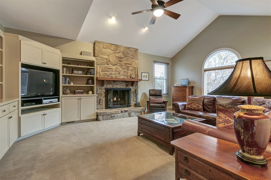 Real Estate Photography - 219 S Pond Rd, Hockessin, DE, 19707 - Fabulous Family Room w/Vaulted Ceiling & Built Ins