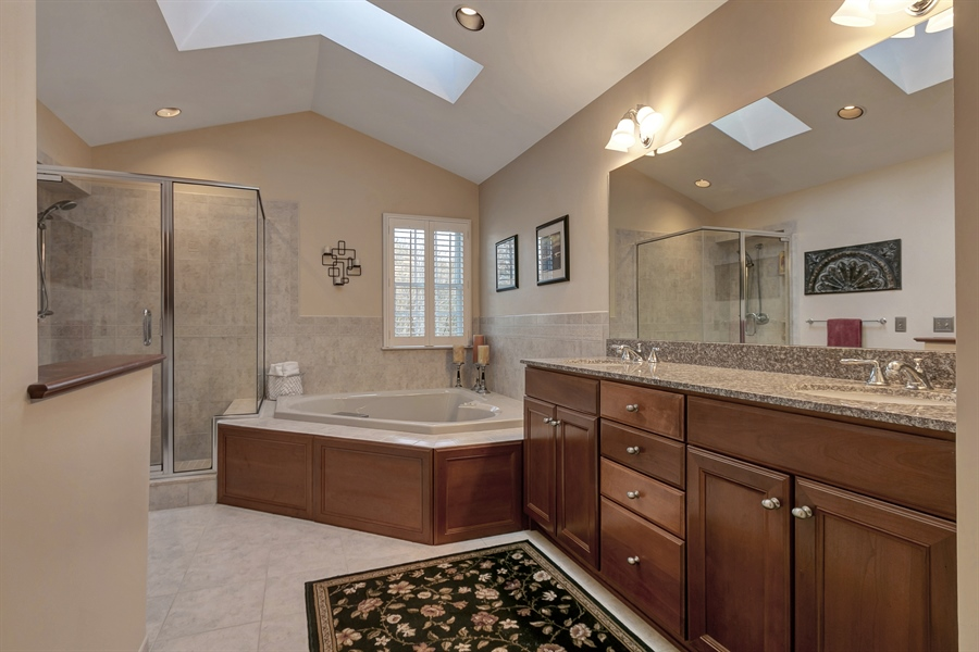 Real Estate Photography - 219 S Pond Rd, Hockessin, DE, 19707 - Luxurious Upgraded Master Bath with Skylights