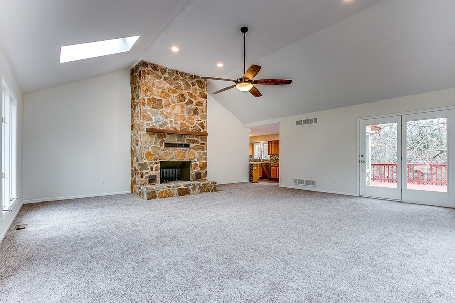 Real Estate Photography - 227 Hawkes Ct, Hockessin, DE, 19707 - Family Room with Large Stone Fireplace
