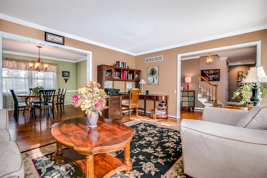Real Estate Photography - 307 Charleston Dr, Wilmington, DE, 19808 - Living Room Opens to Dining Room