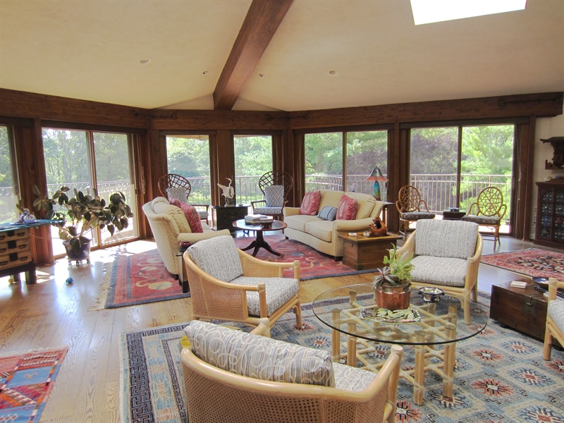 Real Estate Photography - 465 Polly Drummond Hill Rd, Newark, DE, 19711 - Great Room with vaulted ceiling & wrap around deck