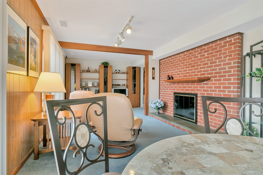 Real Estate Photography - 265 Pond Dr, Hockessin, DE, 19707 - Brick wall fireplace in the family room
