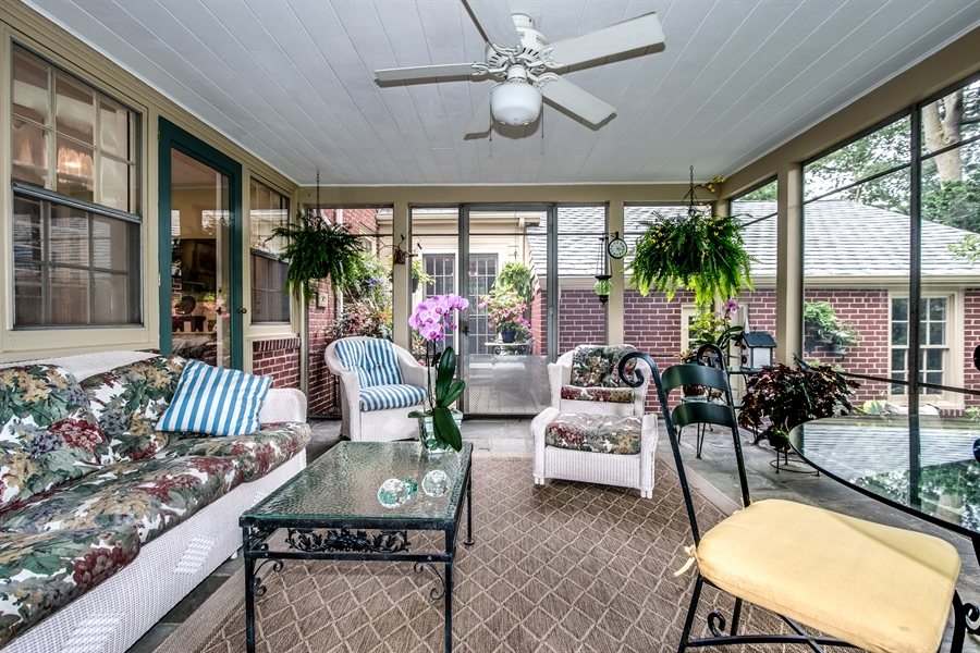 Real Estate Photography - 3202 Swarthmore Rd, Wilmington, DE, 19807 - Screened Porch with Ceiling Fan