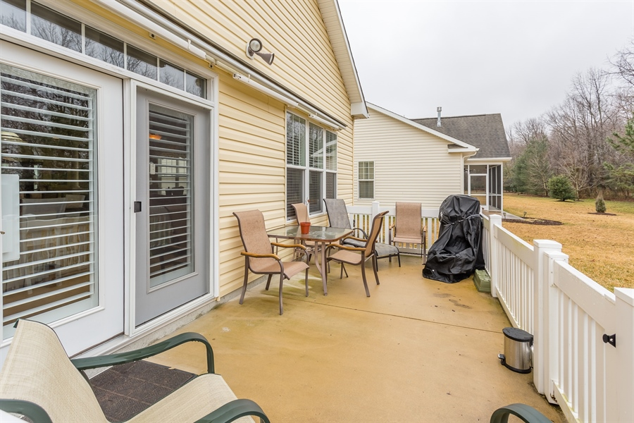 Real Estate Photography - 110 Emilys Pintail Dr, Bridgeville, DE, 19933 - FENCED PATIO WITH POWER AWNING