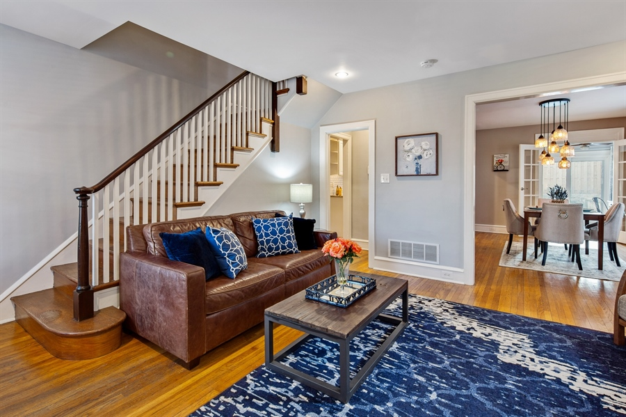 Real Estate Photography - 1324 Shallcross Ave, Wilmington, DE, 19806 - Living Room opens to Dining Room