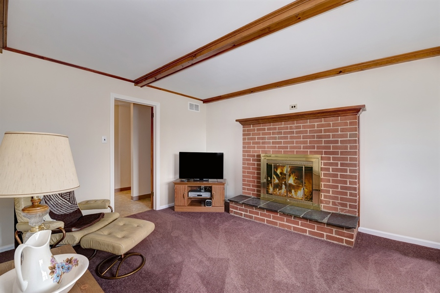 Real Estate Photography - 25 Kennedy Blvd, Elkton, MD, 21921 - FAMILY ROOM, BRICK FIREPLACE