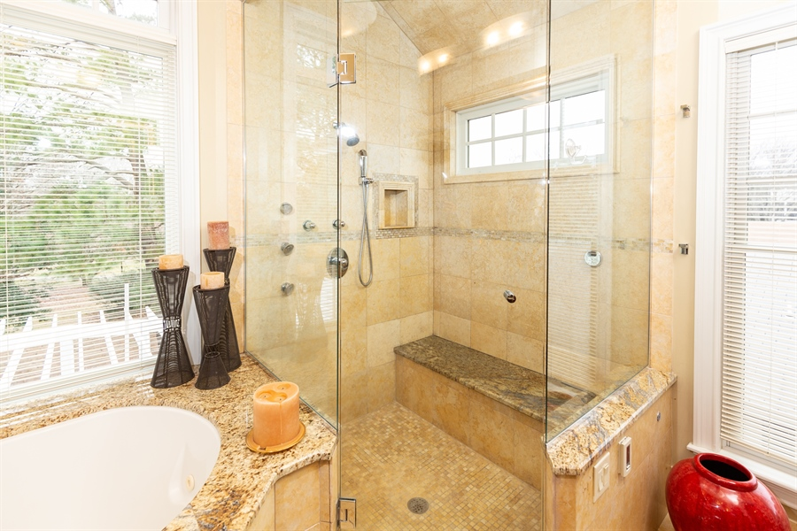 Real Estate Photography - 703 Scarborough Ave, Rehoboth Beach, DE, 19971 - Large Glass Steam Shower with Jets