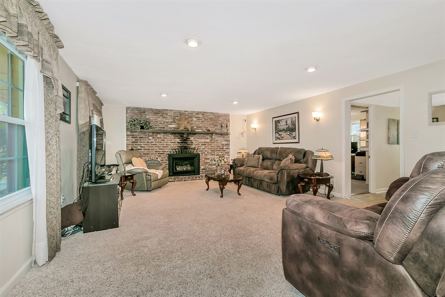 Real Estate Photography - 2500 Turnstone Dr, Wilmington, DE, 19805 - Fabulous Family Room With Brick Fireplace