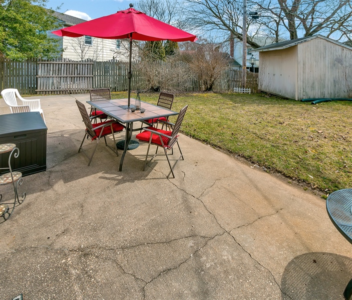 Real Estate Photography - 2500 Turnstone Dr, Wilmington, DE, 19805 - More Of The Patio With Convenient Storage Shed