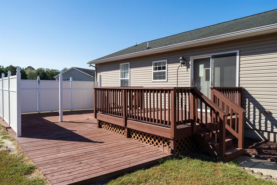 Real Estate Photography - 3 Beacon Cir, Millsboro, DE, 19966 - Back yard deck