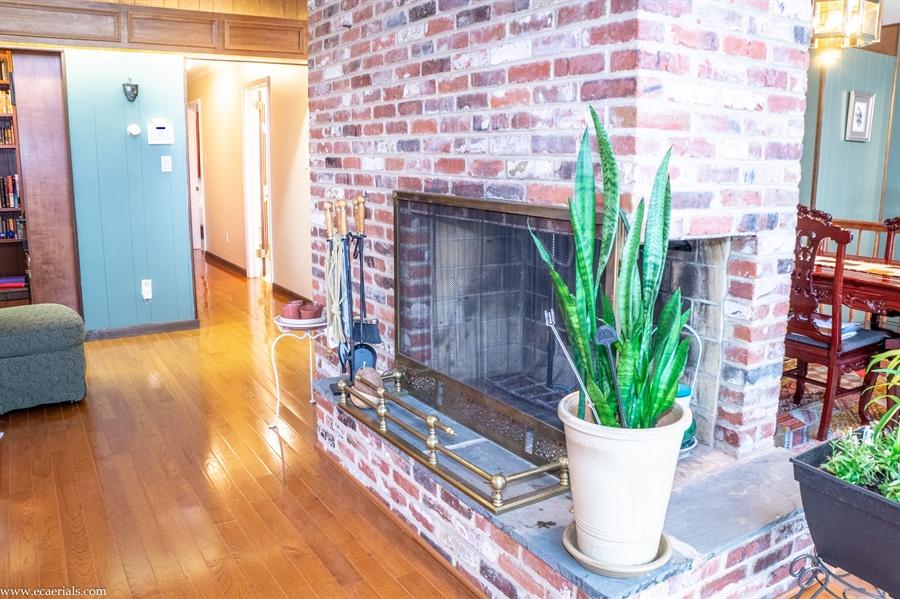 Real Estate Photography - 25 N Rosemont Cir, Elkton, MD, 21921 - LIVING ROOM wood burning fireplace