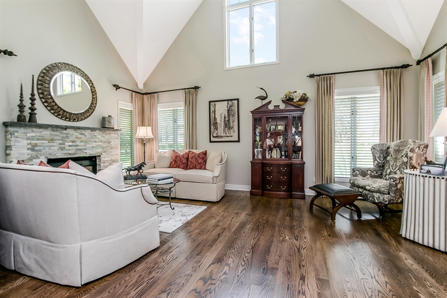 Real Estate Photography - 5 Boysenberry Dr, Hockessin, DE, 19707 - Living Room with Vaulted Ceiling