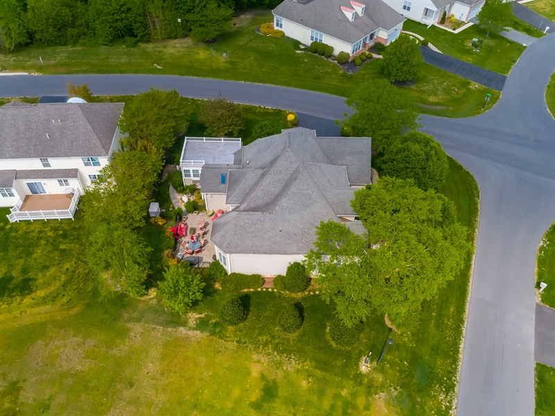 Real Estate Photography - 2 Plantation Ct, Ocean View, DE, 19970 - AERIAL VIEW SHOWING EXTENSIVE ROOF LINES