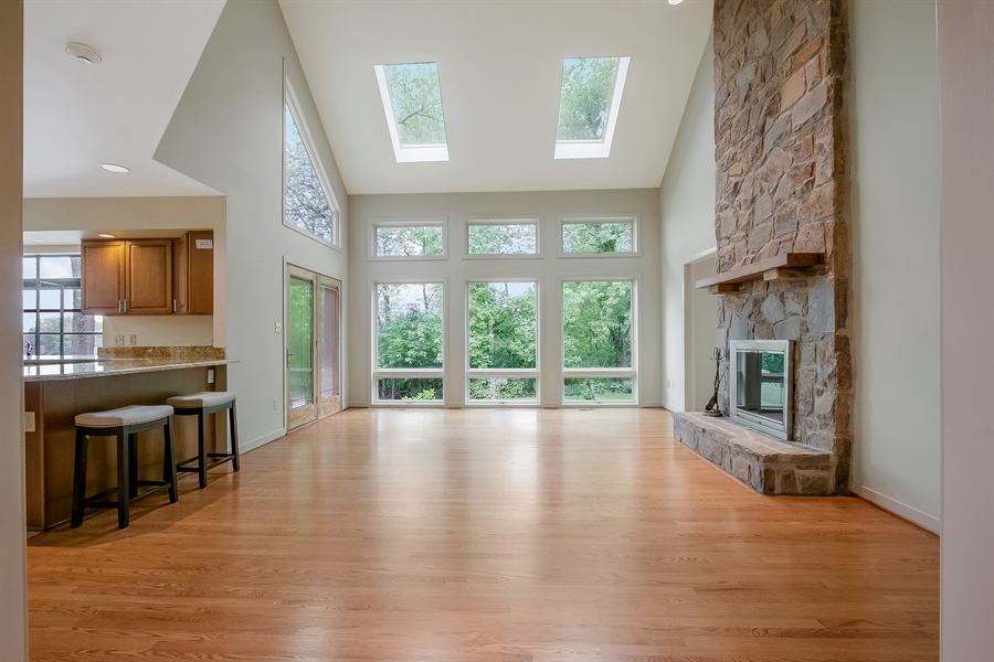 Real Estate Photography - 3102 Kennett Pike, Greenville, DE, 19807 - Great Room, vaulted ceiling and skylights