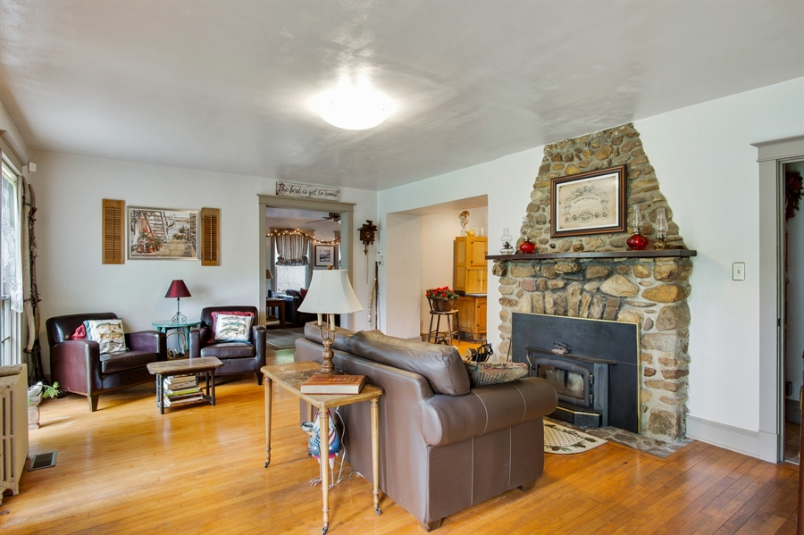 Real Estate Photography - 203 Grandview Ave, Wilmington, DE, 19809 - Living room w/ stone f.p.