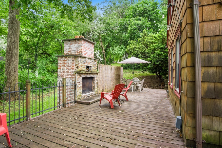 Real Estate Photography - 203 Grandview Ave, Wilmington, DE, 19809 - Deck w/ fireplace and pizza oven