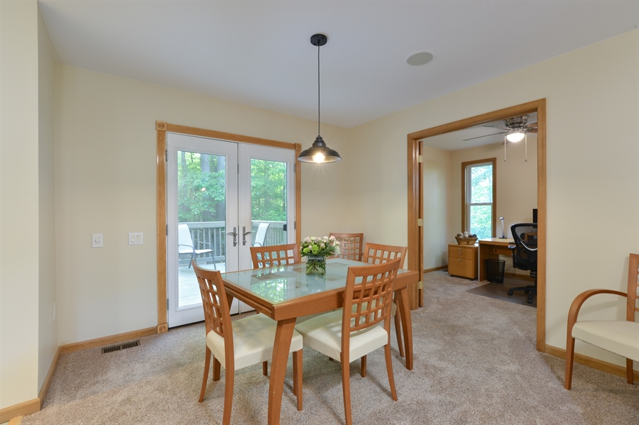 Real Estate Photography - 1155 Shady Beach Rd, Elkton, MD, 21921 - Dining area with French doors to private deck