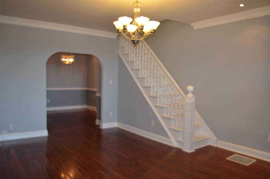 Real Estate Photography - 907 S Broom St, Wilmington, DE, 19805 - Living Room into Dining Room w Crown Molding