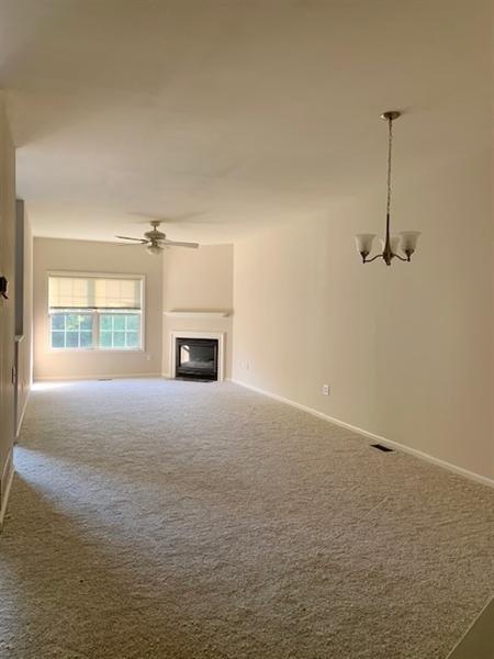 Real Estate Photography - 2208 Braken Ave, Wilmington, DE, 19808 - Living Room w New Carpet & Gas Fireplace