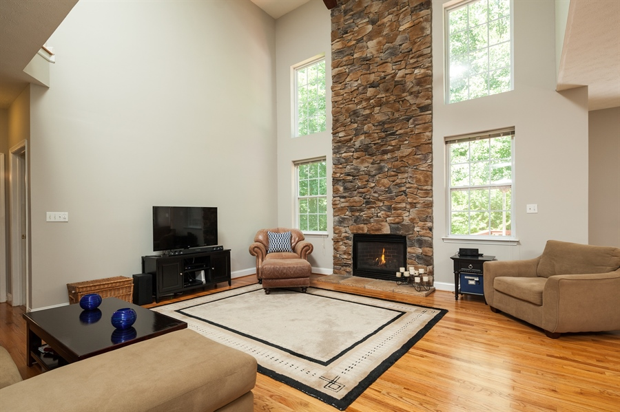 Real Estate Photography - 3 McArthur Ln, Elkton, MD, 21921 - Great Room and Stone Wall to Ceiling Fireplace