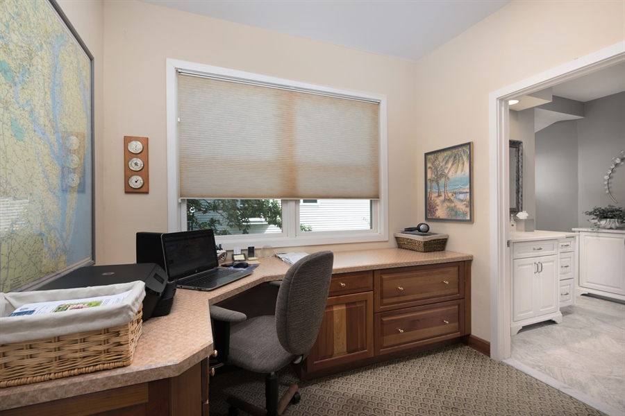 Real Estate Photography - 64 Shipwatch Ln, Chesapeake City, MD, 21915 - OFFICE WITH CUSTOM DESK AND CABINETS