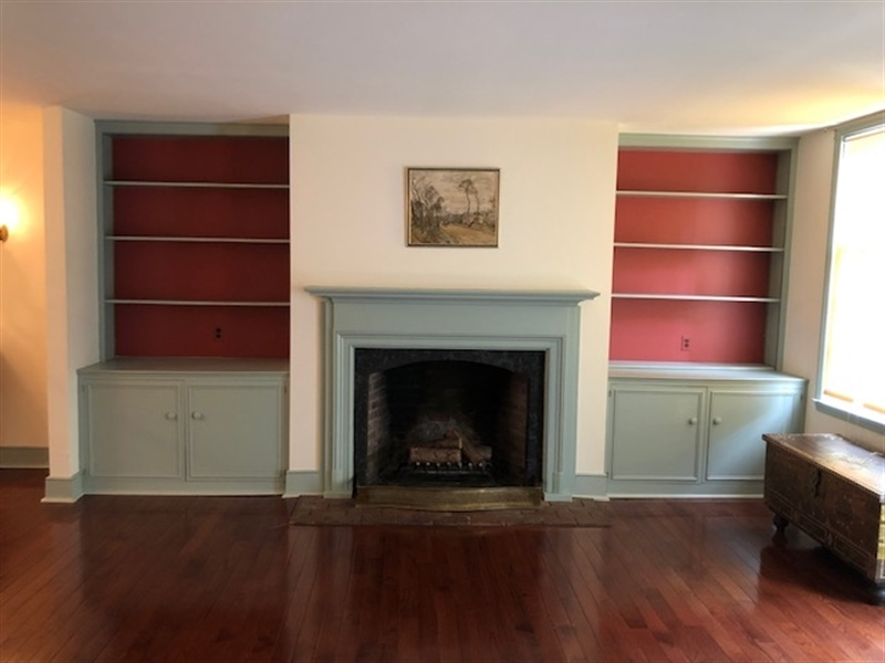 Real Estate Photography - 41 E 4th St, New Castle, DE, 19720 - Living Room Fireplace and Built-Ins
