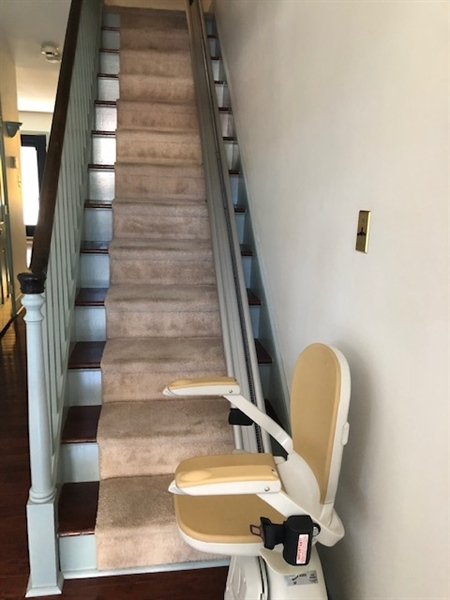 Real Estate Photography - 41 E 4th St, New Castle, DE, 19720 - Acorn Stairs - Chair Lift to 2nd Floor Bedrooms