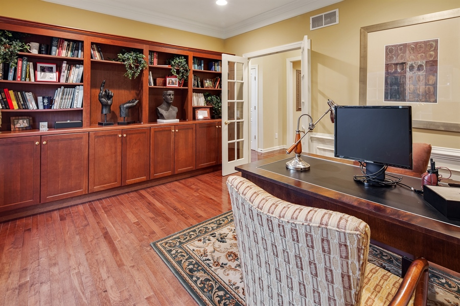 Real Estate Photography - 39 Hempstead Dr, Newark, DE, 19702 - Office w/Custom Built Ins and Next to Powder Rm.