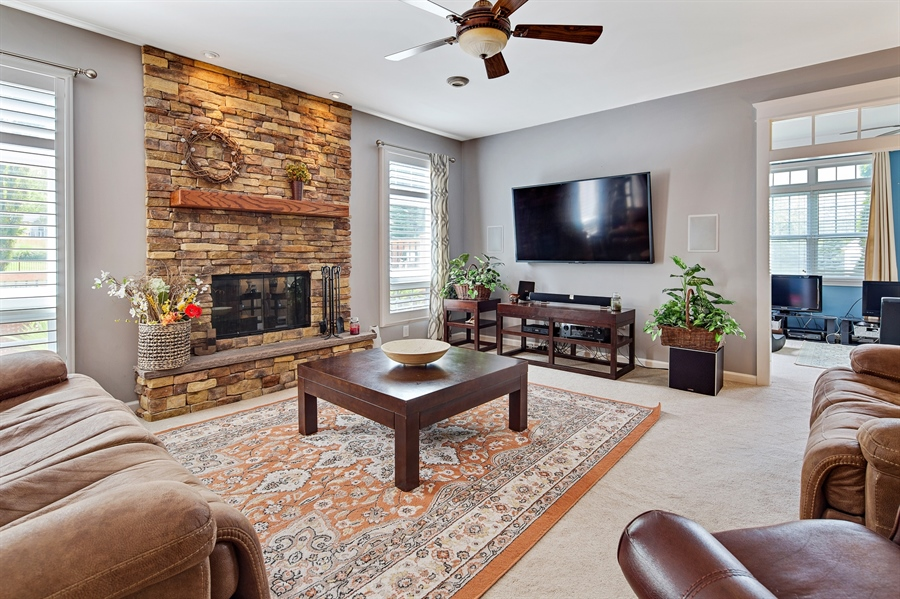 Real Estate Photography - 1921 Hickory Hill Rd, Chadds Ford, PA, 19317 - Family room with beautiful stone fireplace