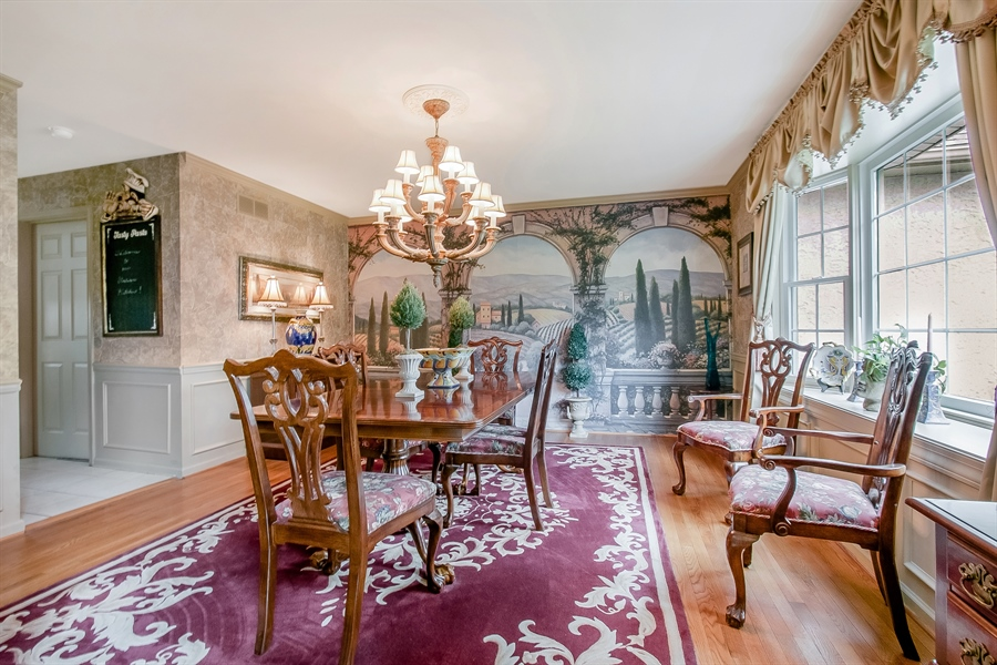 Real Estate Photography - 7 Bayberry Close, Newark, DE, 19711 - A Distinctive Mural Graces The Formal Dining Room